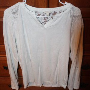 Women's white love sleeve tee with lace